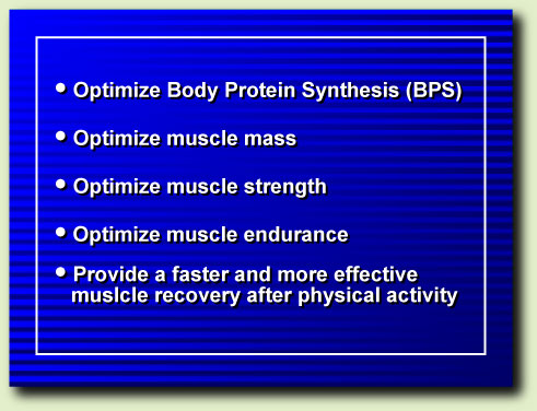 Optimize body protein syntheis, muscle mass, strength and endurance. Recover faster.